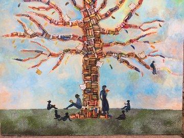 Wisdom Tree 2018 36x48 Huge Original Painting - Gaylord Soli  (Gaylord)