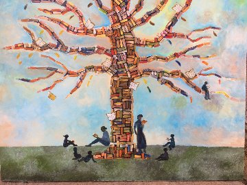 Wisdom Tree 2018 36x48 Super Huge Original Painting - Gaylord Soli  (Gaylord)