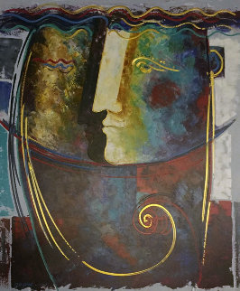 Profile of Man 2000 60x48 Super Huge Original Painting - Gaylord Soli  (Gaylord)
