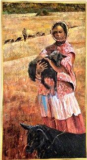 Goat Girl 1996 48x24 Huge Original Painting - Gaylord Soli  (Gaylord)