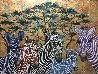 Zebras In Color 2019 36x48 Original Painting by Gaylord Soli  (Gaylord) - 1