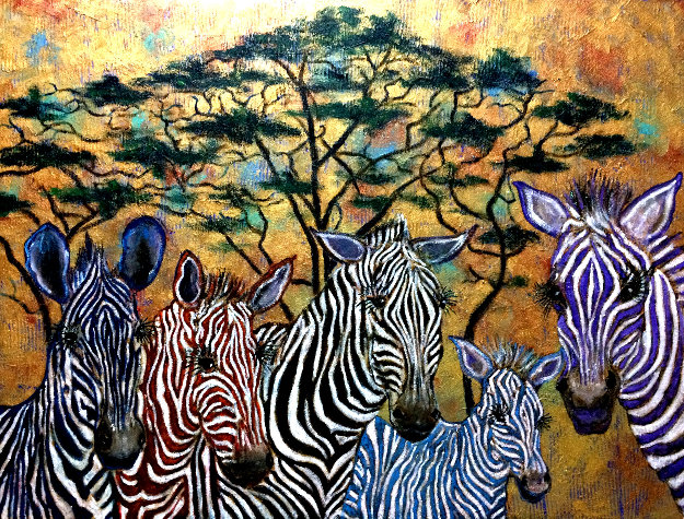 Zebras In Color 2019 36x48 Original Painting by Gaylord Soli  (Gaylord)