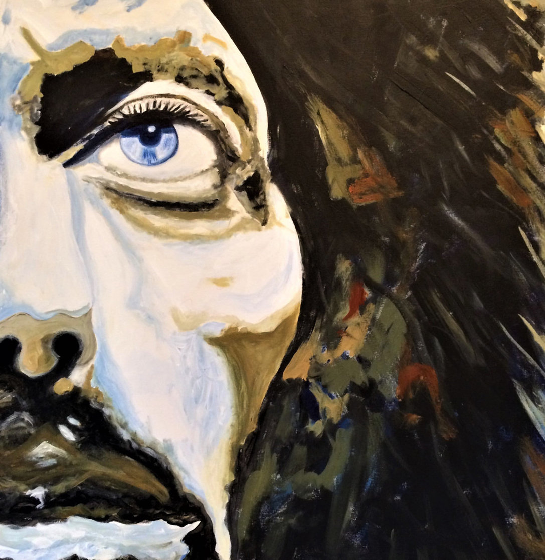 George Harrison 30x30 Original Painting by Gaylord Soli  (Gaylord)