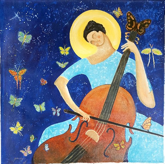 Cellist 2020 30x30 Original Painting by Gaylord Soli  (Gaylord)