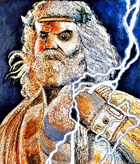 Zeus - God of Lightning 2020 30x30 Original Painting - Gaylord Soli  (Gaylord)