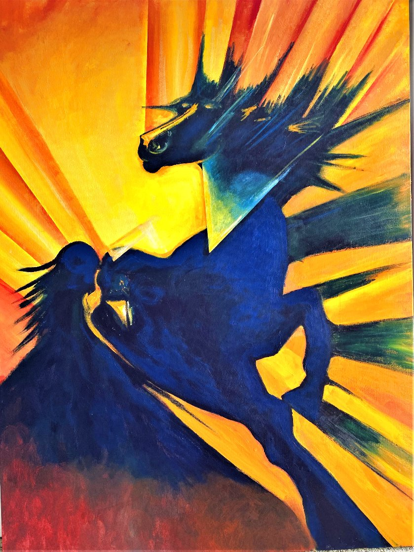 Alastor Powerful Black Horse 2020 48x36 Huge Original Painting by Gaylord Soli  (Gaylord)