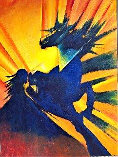 Alastor Powerful Black Horse 2020 48x36 Huge Original Painting - Gaylord Soli  (Gaylord)