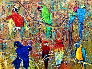 Macaw Family 2021 36x48 Huge Original Painting - Gaylord Soli  (Gaylord)