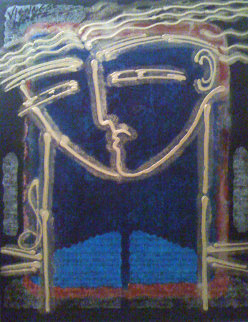 Symphony in Blue 2003 41x29 Huge Original Painting - Gaylord Soli  (Gaylord)