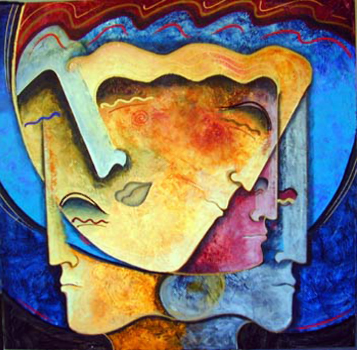 Faces of Man 60x60 Super Huge Original Painting by Gaylord Soli  (Gaylord)