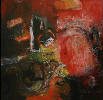 Burning And the Looting 2005 48x48 Original Painting by Geeth Kudaligamage