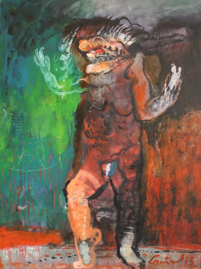 Man Exposes His Victoria's Secrets 2013 40x30 Huge Original Painting by Geeth Kudaligamage