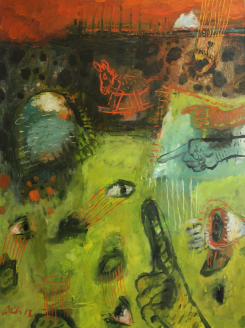 Dilemma of the Mule 2013 40x30 Huge Original Painting by Geeth Kudaligamage