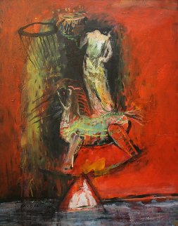Guardian, His Horse And Sthupa 2012 24x30 Original Painting - Geeth Kudaligamage