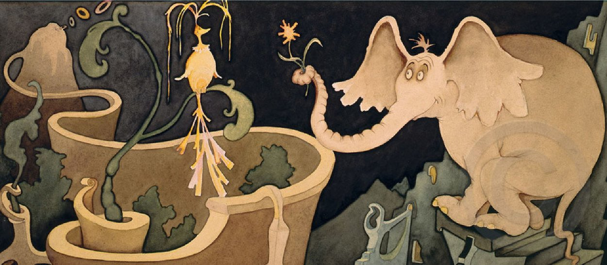 Elephant Presenting a Flower to a Bird 1998 Limited Edition Print by Dr. Seuss
