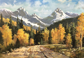Colorado Autumn 2007 68x92 Original Painting - Jerry  Georgeff