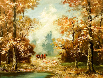 Untitled Landscape 1920 27x19 Original Painting - Gerd Norbert Hartmann
