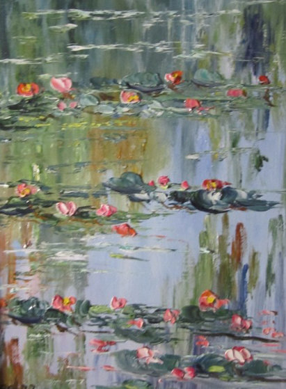 Les Nympheas (Waterlilies) Chez Claude  2002 14x16 Original Painting by Marie-Ange Gerodez
