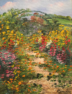 Giverny Chez Monet  2002 14x15 Original Painting by Marie-Ange Gerodez