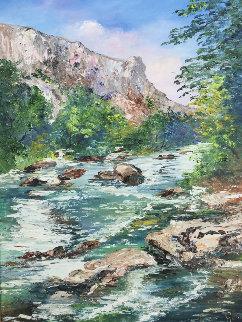 Fontaine De Vaucluse 2002 30x24 Original Painting - Marie-Ange Gerodez