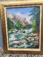 Fontaine De Vaucluse 2002 30x24 Original Painting by Marie-Ange Gerodez - 2