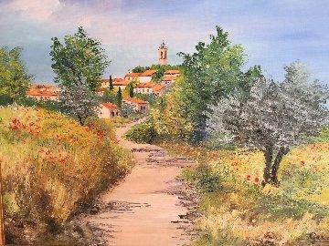 Village De Puimoisson Pres De Moustier 2002 27x36 Original Painting - Marie-Ange Gerodez