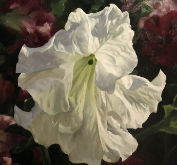 White Petunia With Red 1995 28x33 Original Painting - Michael Gerry