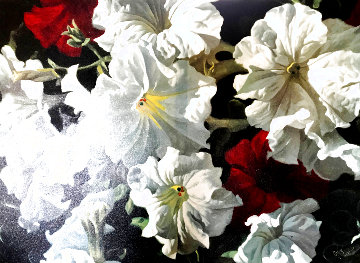 Red and White Petunias 1995 Embellished Limited Edition Print - Michael Gerry