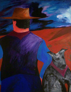 I See By Your Outfit You Are A Cowboy 1987 48x36 Original Painting - Bill Gersh