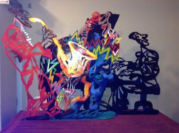 Pre-blue Note A, B, C Metal Sculpture 1995 29x42 Sculpture by David Gerstein
