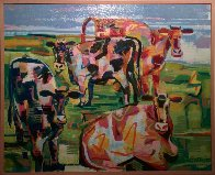 Curious Cows 2002 31x39 Original Painting by David Gerstein - 1