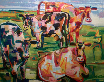 Curious Cows 2002 31x39 Original Painting - David Gerstein