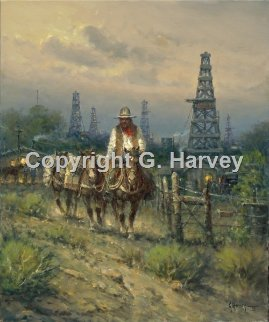 Oil Field Cowhands 2009 Limited Edition Print - G. Harvey