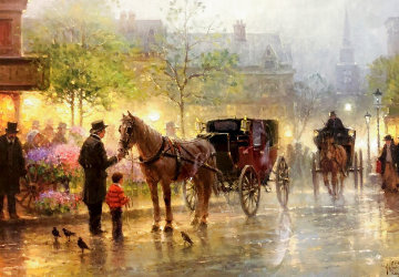 Cabbies At the Market 1999 Limited Edition Print - G. Harvey