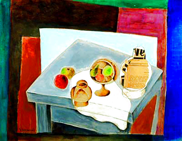 Still Life With Hungarian Weekly Magazine 1970 26x20 Works on Paper (not prints) by Jacob Gildor
