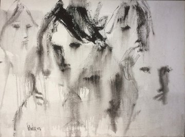 Untitled (Six Faces)  1971 30x40 Huge Original Painting - Gino Hollander