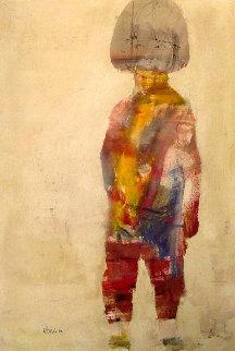 Hippie Girl 1966 43x30 Super Huge Original Painting - Gino Hollander
