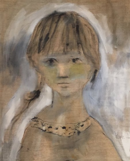 Untitled (Girl in Gold) 1965 37x31 Original Painting by Gino Hollander