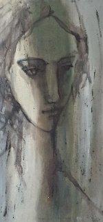 Untitled -  Girl in Shadow 1983 49x26 Super Huge Original Painting - Gino Hollander