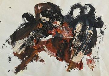 El Toro Rojo 1972 9x12 Works on Paper (not prints) by Gino Hollander