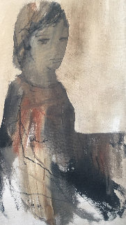 Portrait of Girl 1970 45x30 Original Painting - Gino Hollander