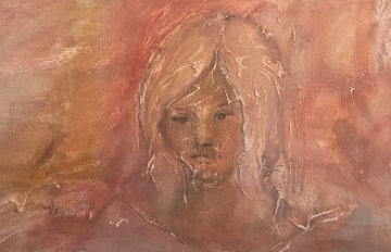 Young Girl's Face 1965 25x41 Original Painting by Gino Hollander