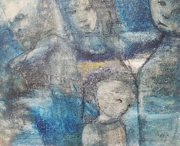 Untitled (4 Faces Blue) 1966 24x30 Original Painting - Gino Hollander