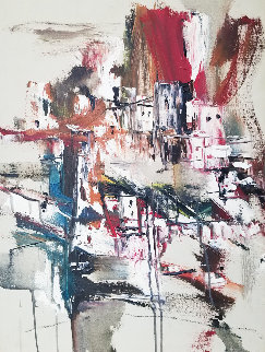 Untitled Painting 1966 25x19 Original Painting - Gino Hollander