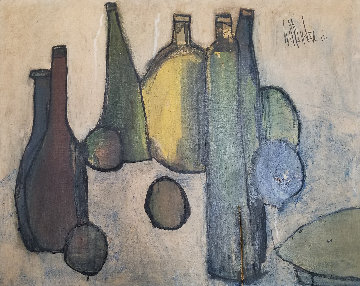 Untitled Oil on Canvas - 6 Bottles 1963 24x31 Original Painting by Gino Hollander