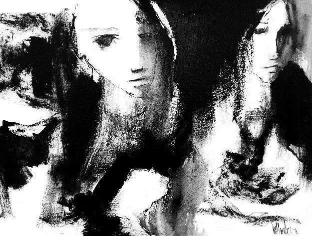 Untitled Painting - Two Girls 1972 34x44 Original Painting by Gino Hollander