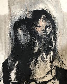 Sister 1969 40x30 Super Huge Original Painting - Gino Hollander