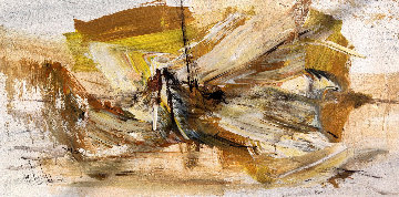 Untitled - Boat on Sea 1972 20x40 Original Painting - Gino Hollander