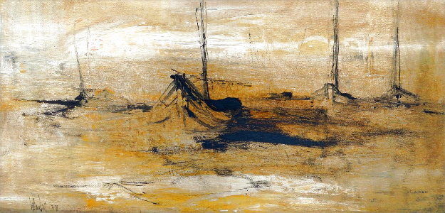 Untitled Landscape 1971 25x45 Original Painting by Gino Hollander