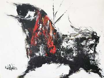 Bull 1980 32x42 Original Painting - Gino Hollander